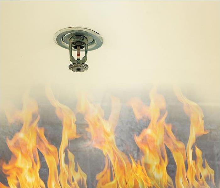 sprinkler head on white ceiling with flames coming up from the bottom
