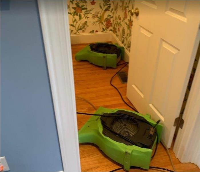 SERVPRO drying equipment in water damaged room