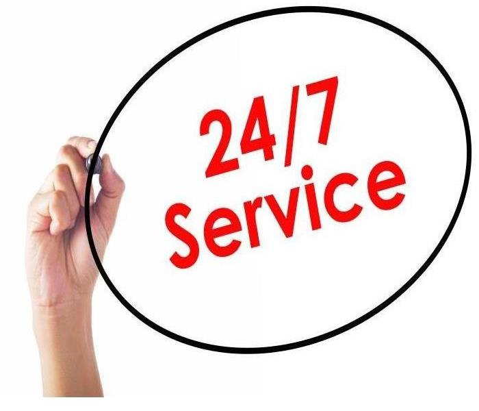 Hand that has written 24/7 Service in red