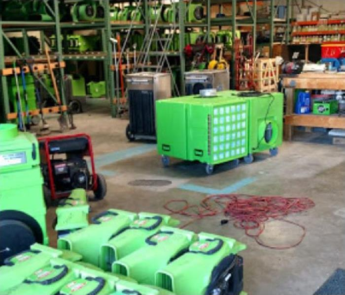 SERVPRO restoration equipment being stored inside of warehouse